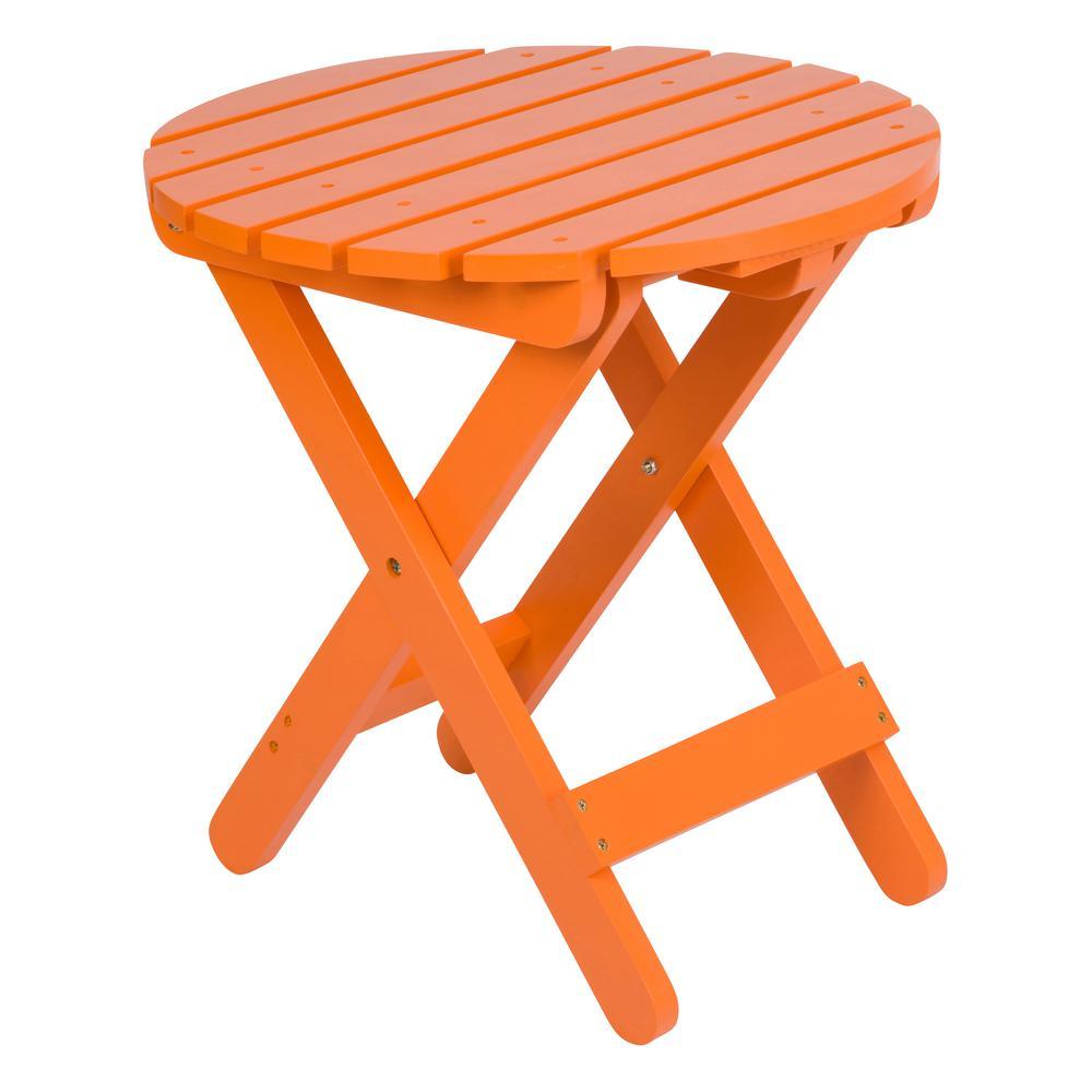 Adirondack Tangerine Round Wood Folding Table