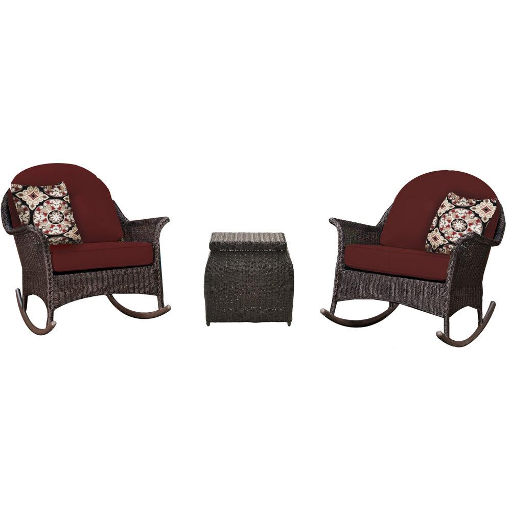 Peachy Hanover Sun Porch 3 Piece Wicker Patio Conversation Set With Plush Crimson Red Cushions Ncnpc Chair Design For Home Ncnpcorg