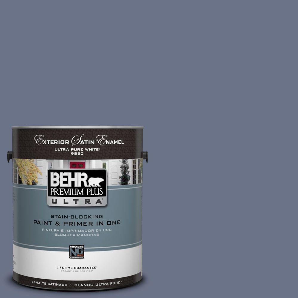 BEHR Premium Plus Ultra 1-Gal. #UL240-3 Blue Aura Satin Enamel Exterior Paint