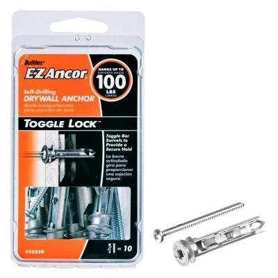 Toggle Lock 100 lb. Pan Head Philips Heavy Duty Self Drilling Drywall Anchors with Screws (10-Pack)