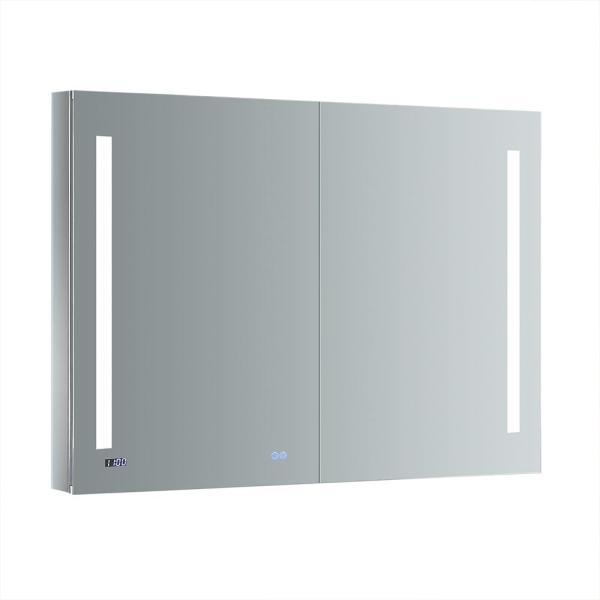 Fresca Tiempo 48 In W X 36 In H Recessed Or Surface Mount Medicine Cabinet With Led Lighting And Mirror Defogger Fmc014836 The Home Depot