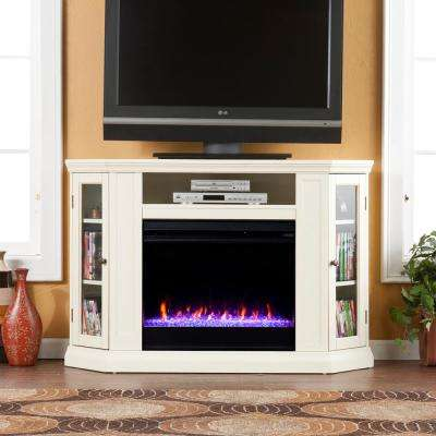 Denton 48 in. Convertible Color Changing Media Stand Fireplace in Ivory