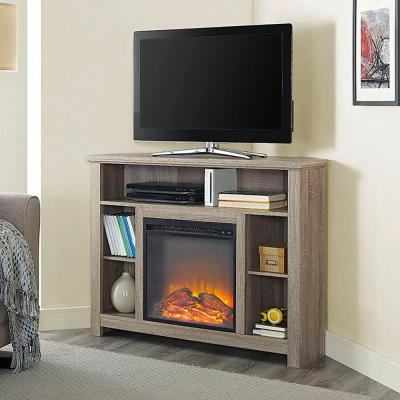 Highboy 44 in. Driftwood MDF Corner TV Stand 48 in. with Electric Fireplace