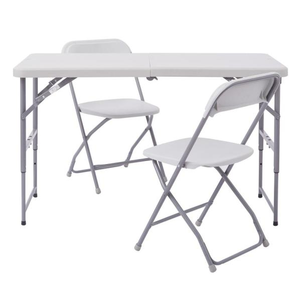 Office Star Products Blow Mold 3-Piece Resin Gray Resin Set with Height Adjustable Table