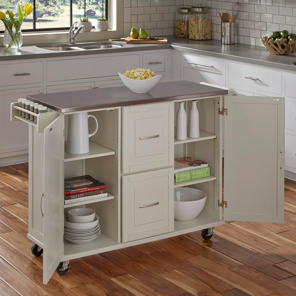 Home Styles 4528 95 Kitchen Island Cart: Home Styles Patriot White Kitchen Cart-4514-95