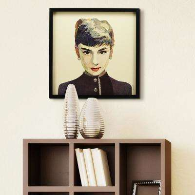 "25 in. x 25 in. ""Audrey"" Dimensional Collage Framed Graphic Art Under Glass Wall Art"