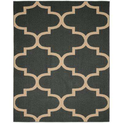 Large Quatrefoil Cinder/Tan 8 ft. x 10 ft. Area Rug