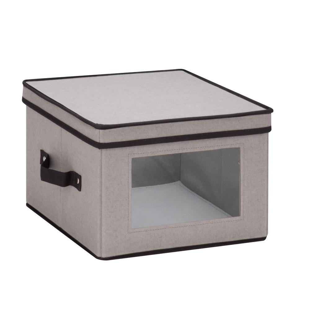 Honey-Can-Do Dinnerware Storage Box 12 in. D x 12 in. H x 8.5 in. W in Gray Canvas - Dinner Plates
