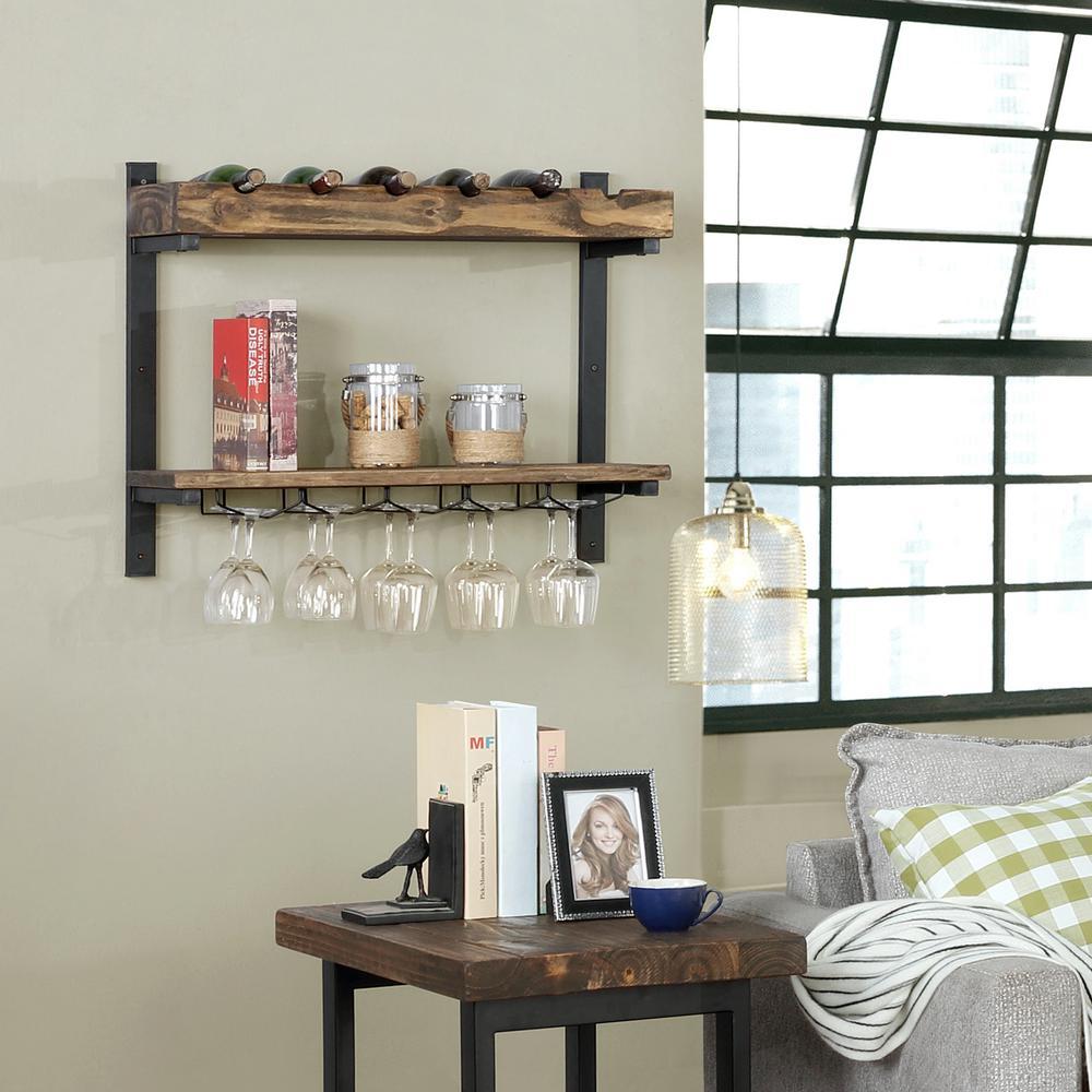Alaterre Furniture Pomona 6-Bottle  Wall Shelving with Wine Storage