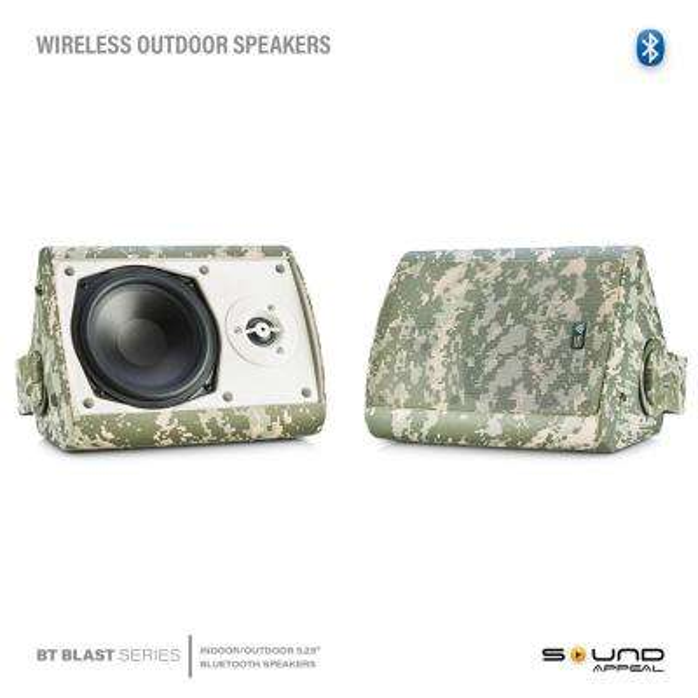 5.25 in. BT BLAST Indoor/Outdoor Wireless Bluetooth Speaker, Camouflage, Pair, by Sound Appeal