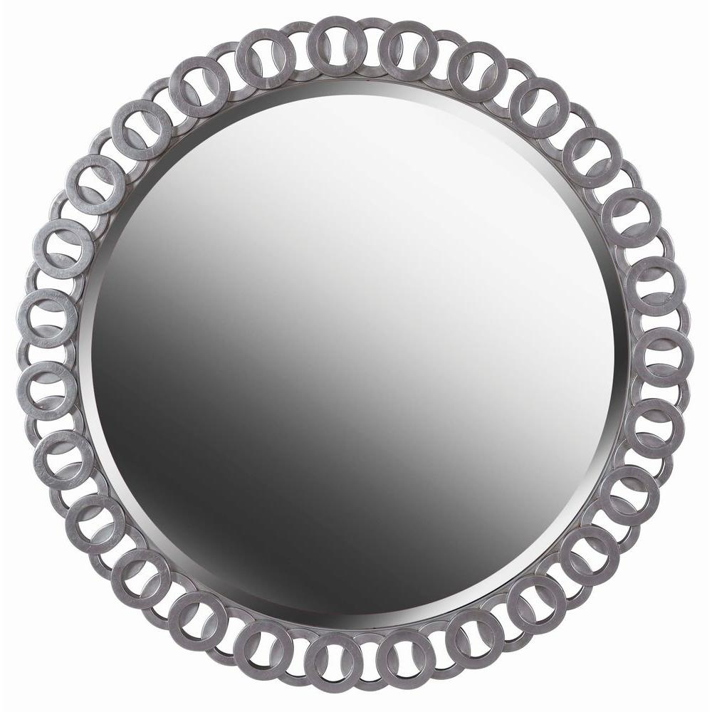 Kenroy Home Geo 34 in. x 34 in. Bright Silver Wall Framed Mirror