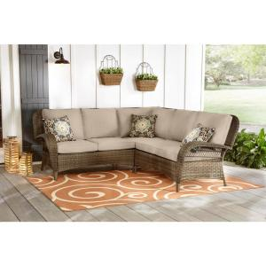 Beacon Park 3-Piece Brown Wicker Outdoor Patio Sectional Sofa with CushionGuard Putty Tan Cushions