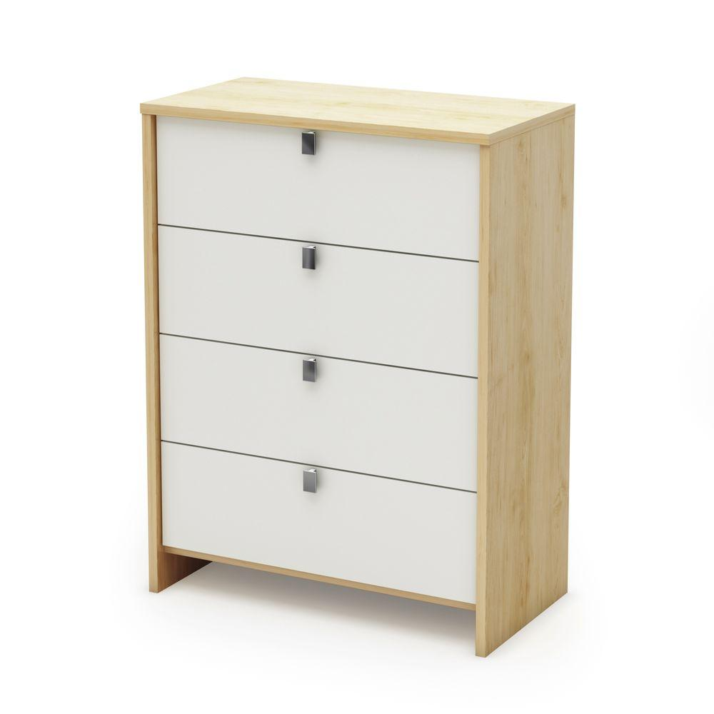 South Shore Cookie 4-Drawer Chest in Champagne and White-DISCONTINUED