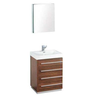 Livello 24 in. Vanity in Walnut with Acrylic Vanity Top in White with White Basin and Mirrored Mirrored Medicine Cabinet