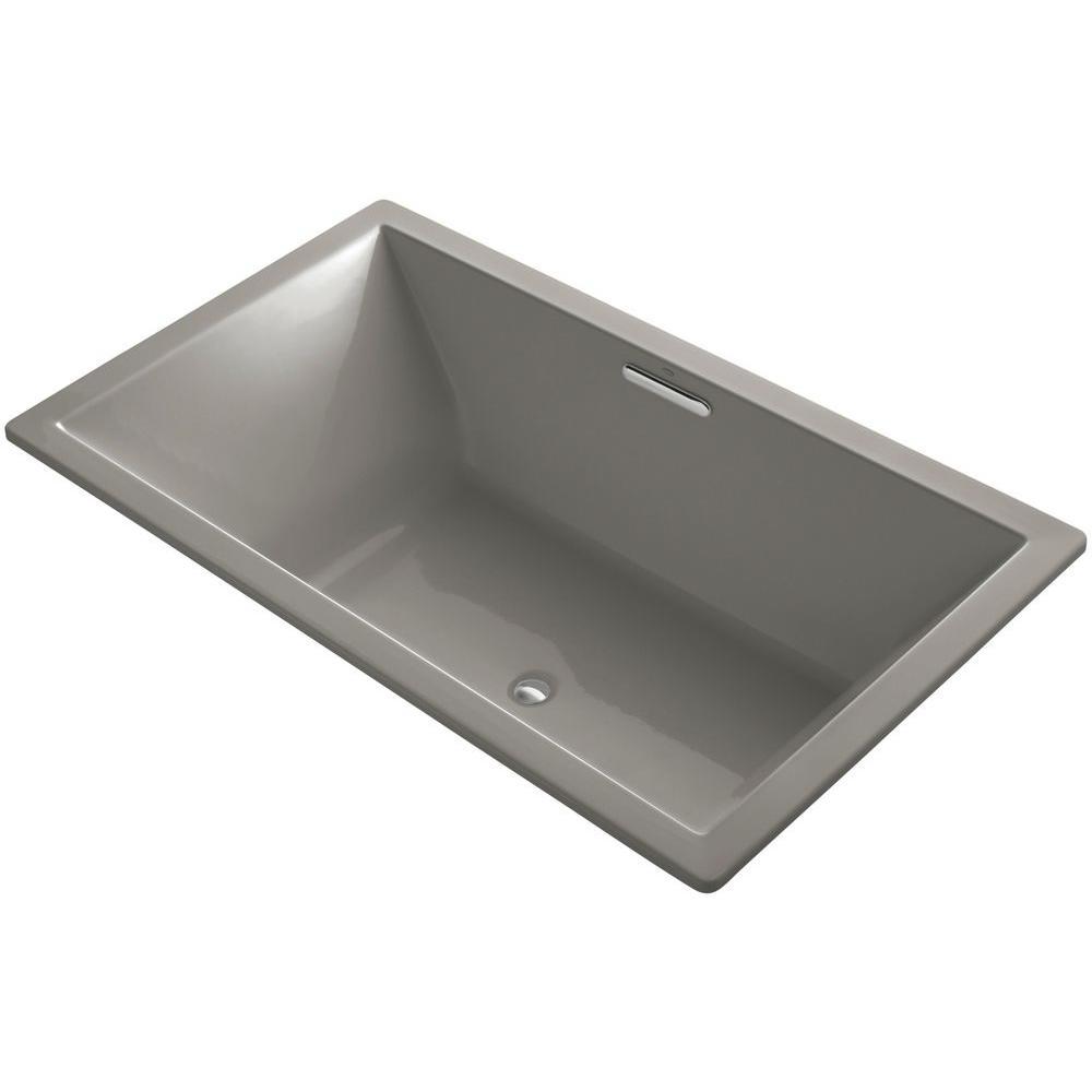 KOHLER Underscore 6 ft. Center Drain Soaking Tub in Cashmere with ...