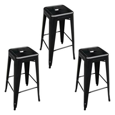 Loft Style 30 in. Black Stackable Metal Bar Stool (Set of 3)