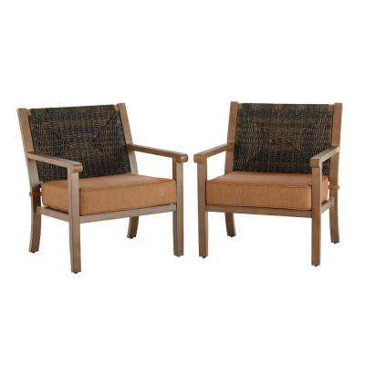 Kapolei Stationary Wicker Outdoor Lounge Chair with Reddish Brown Cushion (2-Pack)