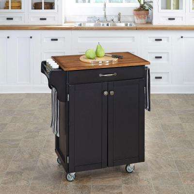 Cuisine Cart Black Kitchen Cart With Oak Top