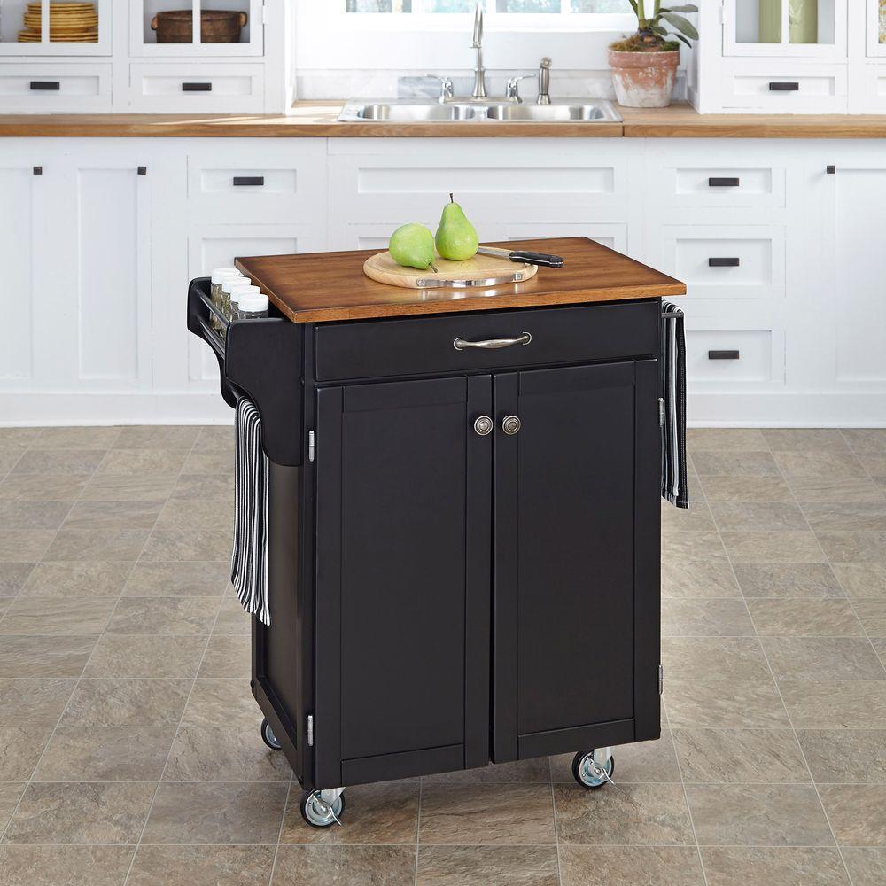 Home Styles Cuisine Cart Black Kitchen Cart With Oak Top 9001-0046G