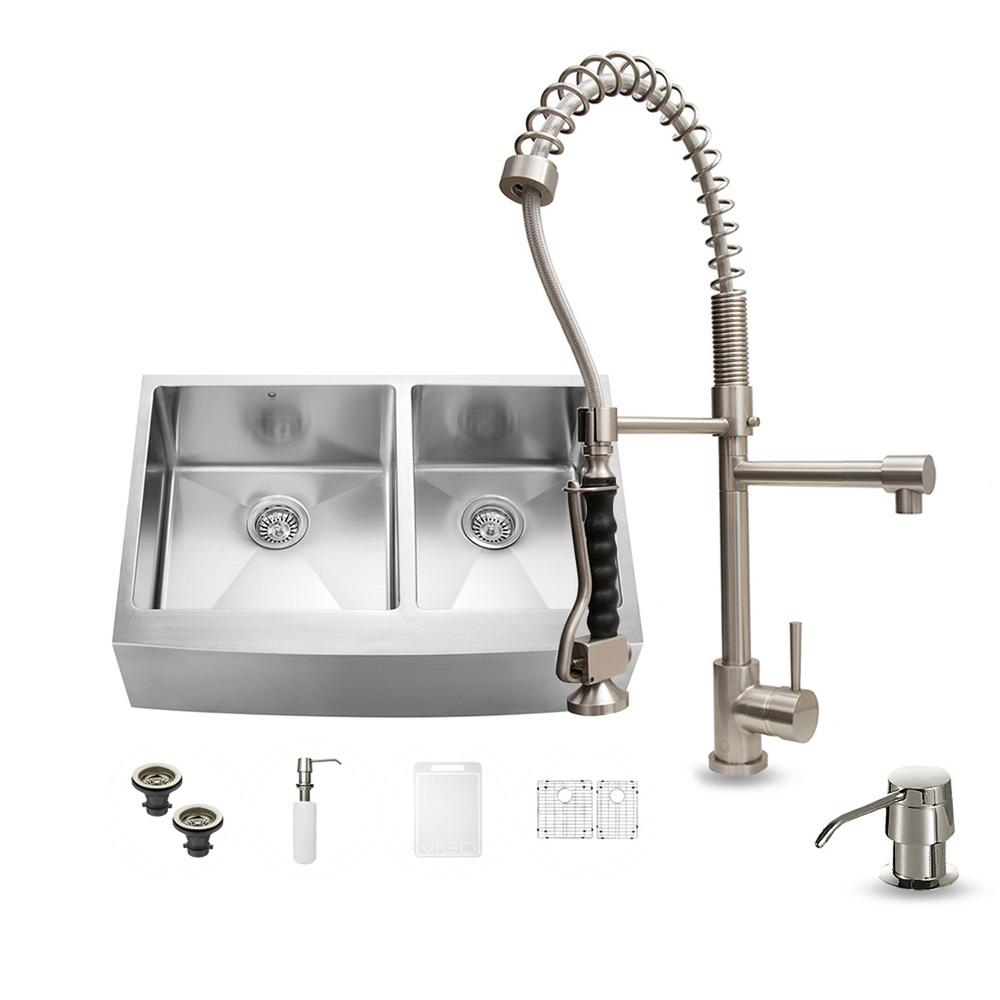 Vigo All In One Farmhouse Apron Front Stainless Steel 33 In 0 Hole Double Bowl Kitchen Sink And