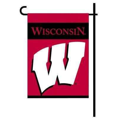 NCAA 13 in. x 18 in. Wisconsin 2-Sided Garden Flag Set with 4 ft. Metal Flag Stand