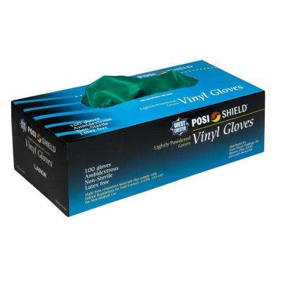 Lightly Powdered Green Vinyl Gloves, XLarge - 100 Ct. Box, sold by the case