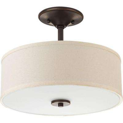Inspire Collection 17 -Watt Antique Bronze Integrated LED Semi-Flushmount