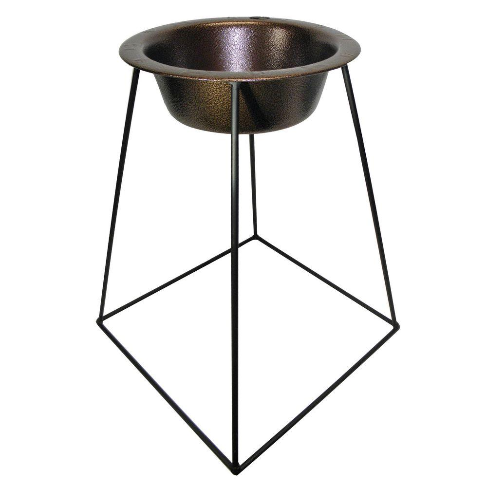 Platinum Pets 2 Cup Wrought Iron Pyramid Single Feeder with an Extra Wide Rimmed Bowl in Copper Vein