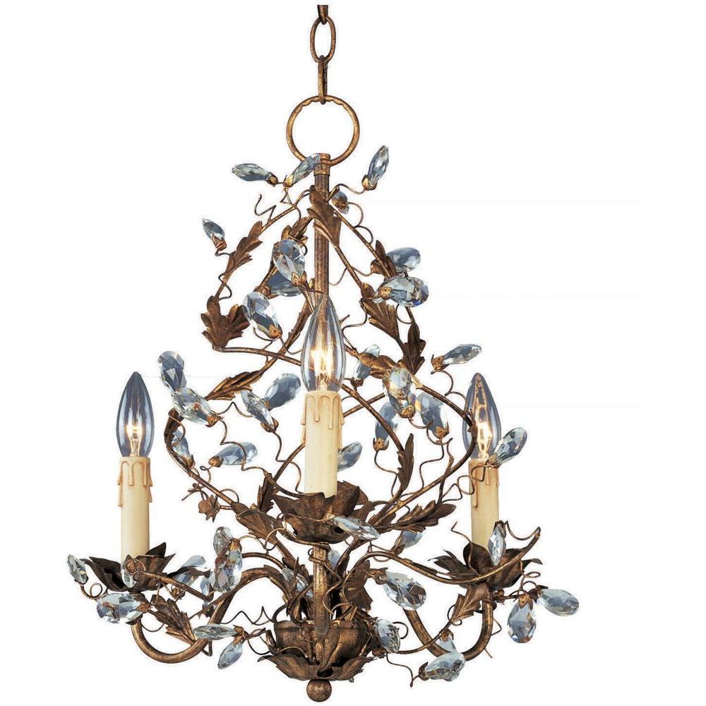 Maxim Lighting Elegante 3-Light Etruscan Gold Mini Chandelier