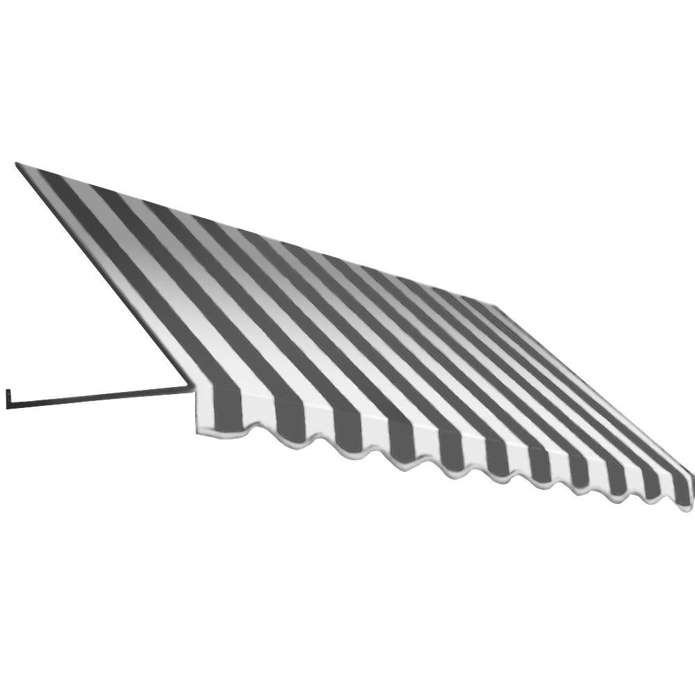 Beauty-Mark 8 ft. Dallas Retro Window/Entry Awning (16 in. H x 30 in. D) in Gray/White Stripe