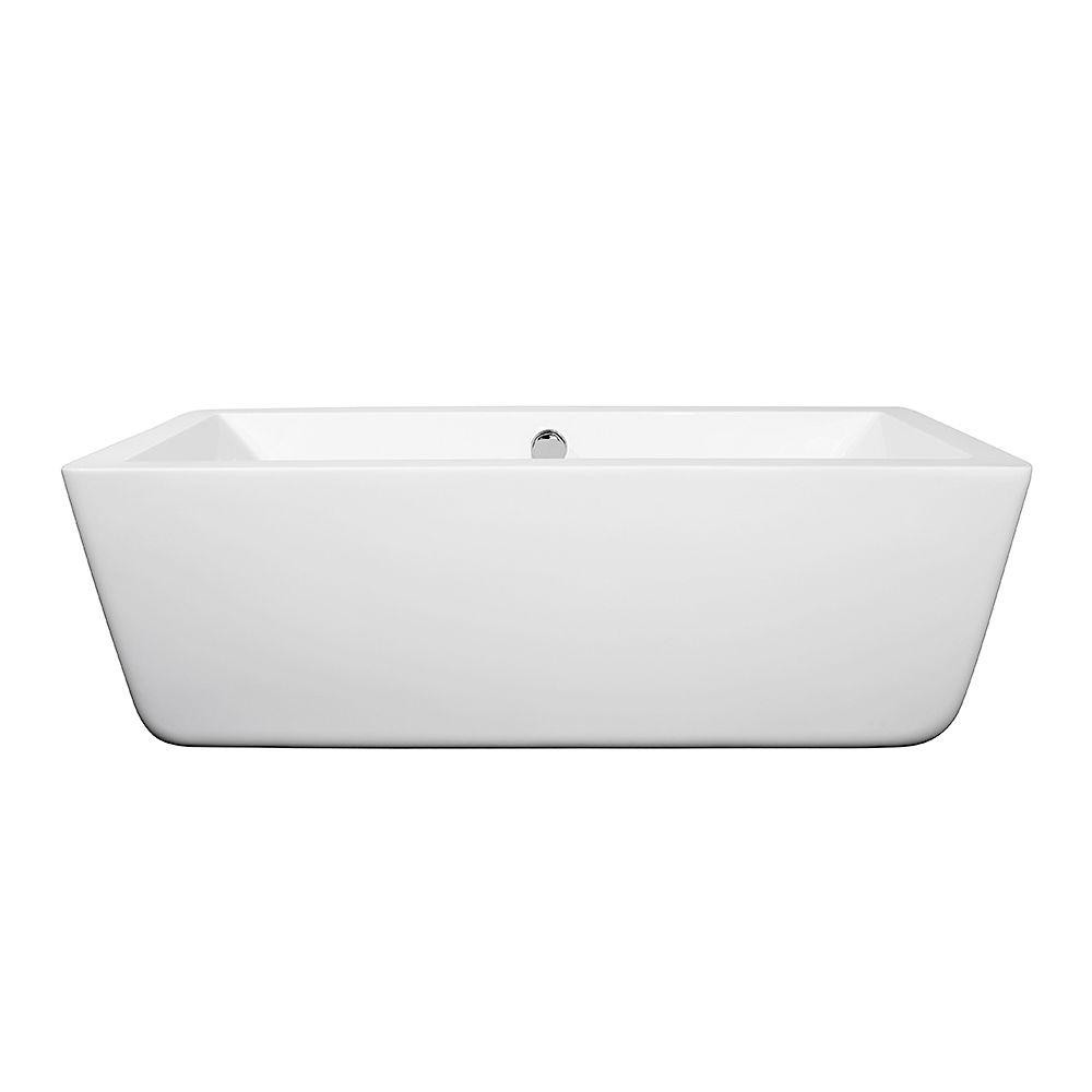 Wyndham Collection Laura 58.75 in. Acrylic Flatbottom Center Drain ...