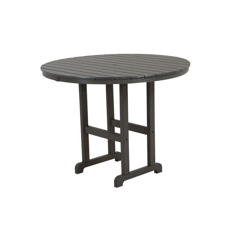 POLYWOOD La Casa Cafe 48 in. Slate Grey Round Plastic Outdoor Patio Counter Table
