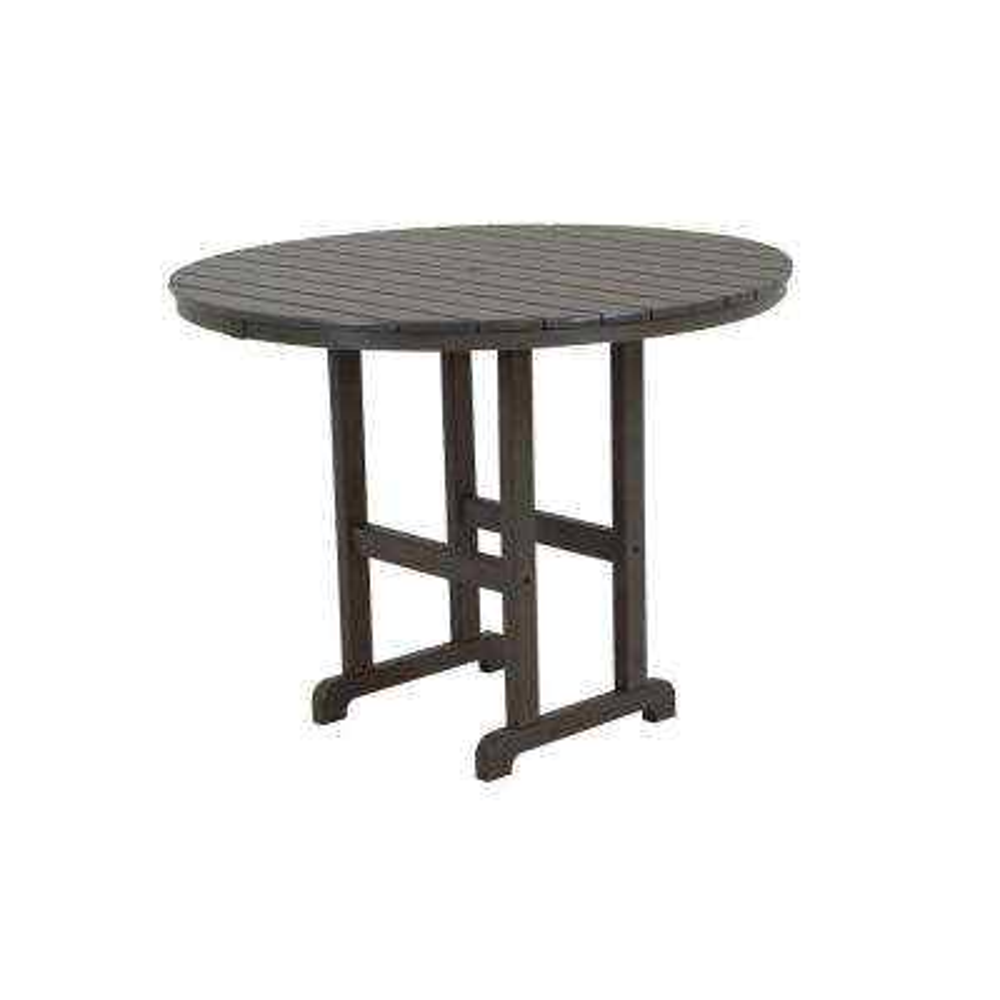 La Casa Cafe 48 in. Slate Grey Round Plastic Outdoor Patio Counter Table