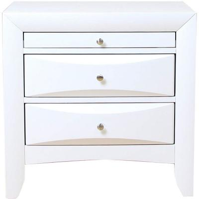 Amelia 3-Drawer 26 in. x 17 in. x 25 in. White Rubber Wood Elegant Nightstand