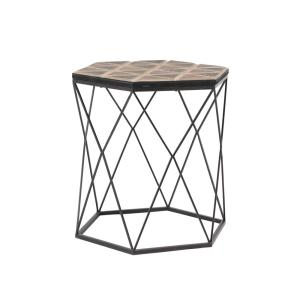Brown Hexagonal Accent Table with Gray Frame by