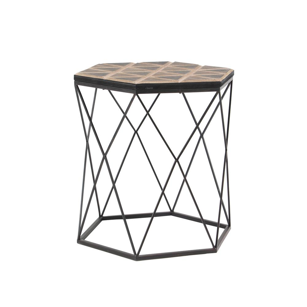 Brown Hexagonal Accent Table with Gray Frame