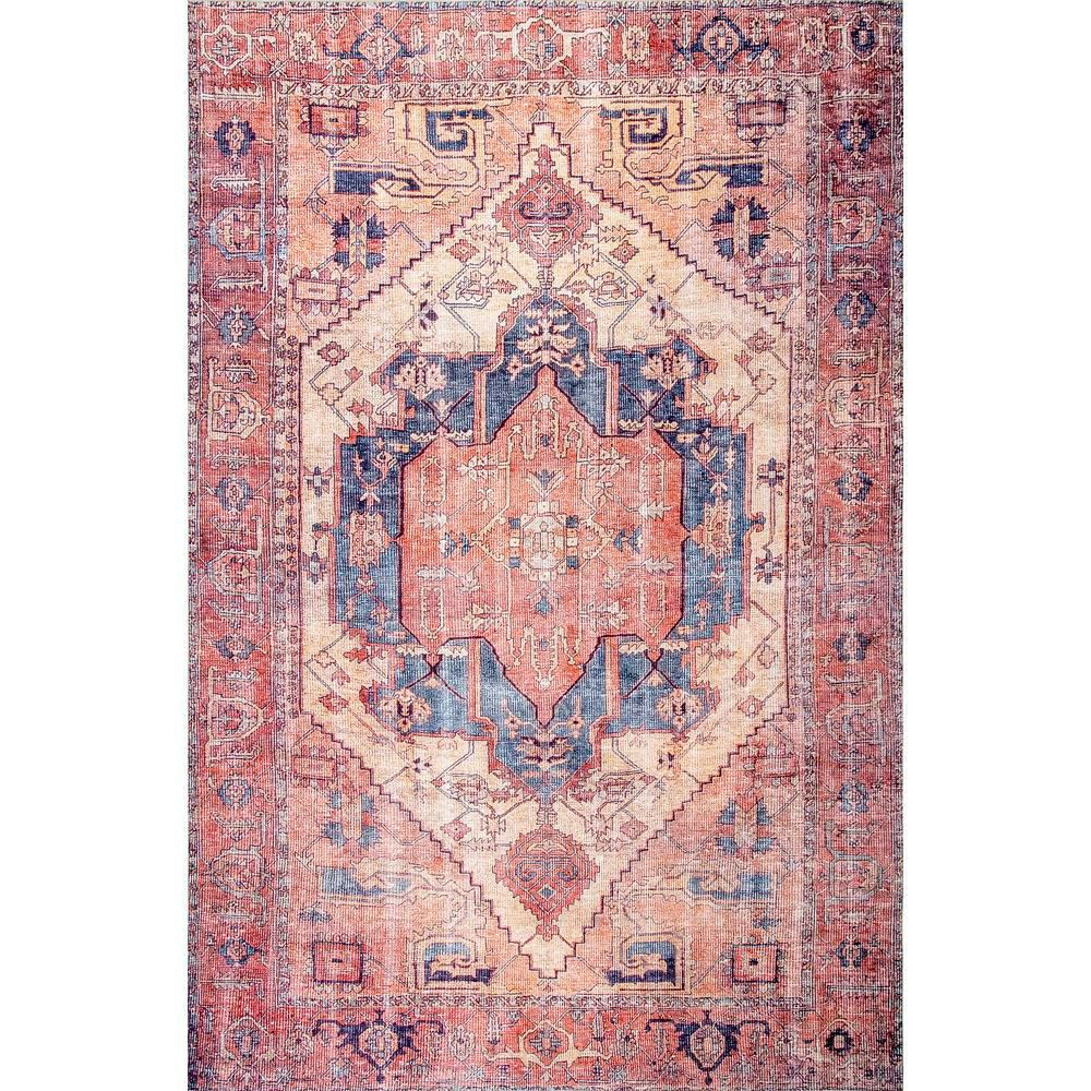 nuLOOM Quinne Oriental Persian Peach 6 ft. x 9 ft.  Area Rug