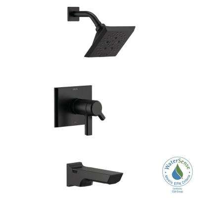 Pivotal TempAssure H2Okinetic Technology 1-Handle Wall-Mount Tub and Shower Trim Kit in Matte Black (Valve Not Included)