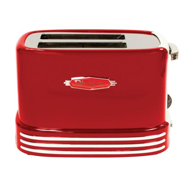 Retro Series 2-Slice Red Wide Slot Bagel Toaster with Crumb Tray and Shade Settings
