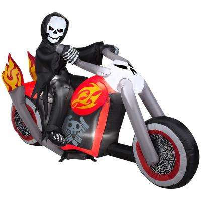 6.99 ft. Width Pre-Lit Inflatable Reaper Motorcycle Scene Airblown