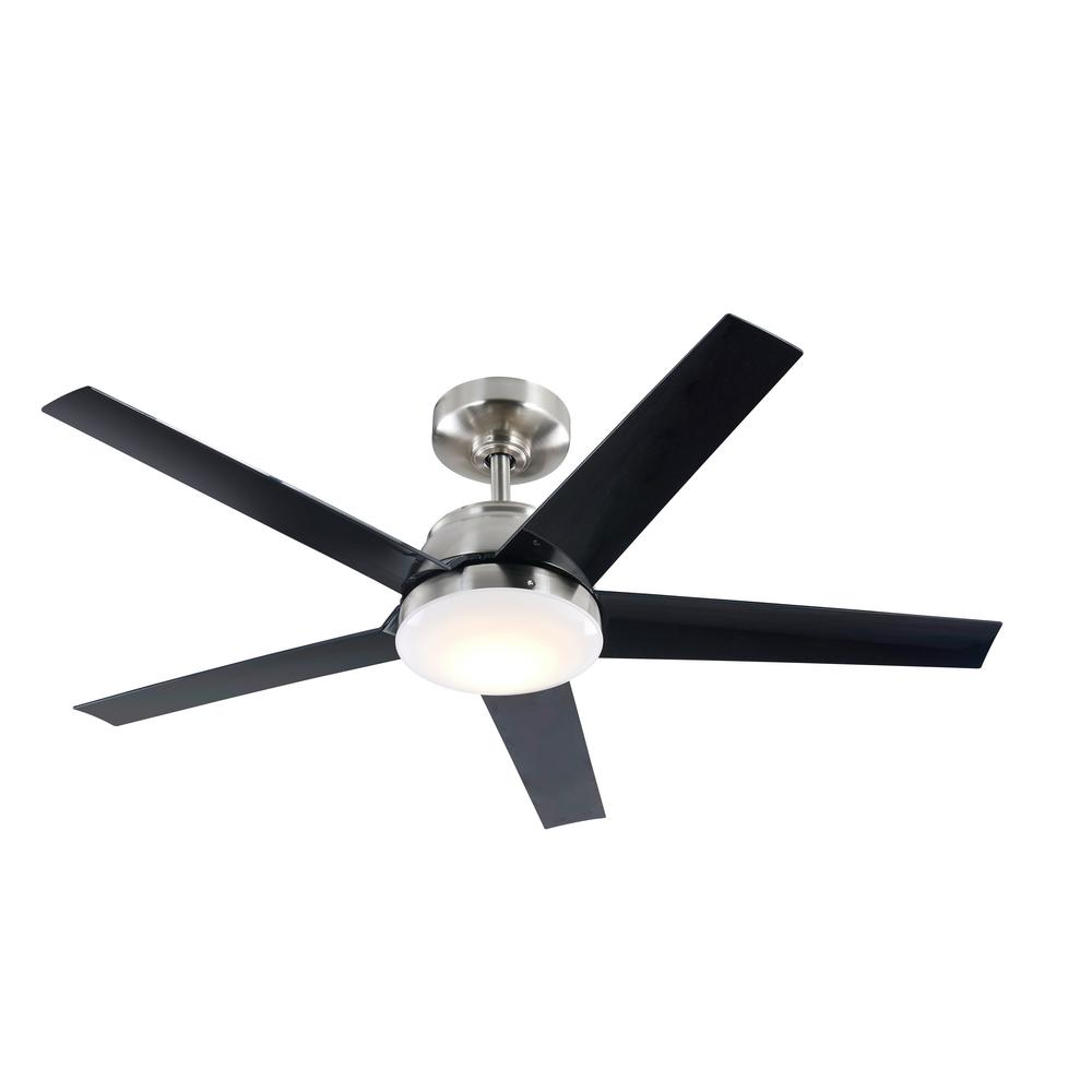 52 in. Integrated LED Indoor Brushed Nickel DC Ceiling Fan with