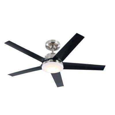 52 in. Patomo Integrated LED Indoor Brushed Nickel DC Ceiling Fan with Light Kit and Remote Control