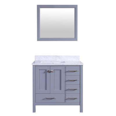 Shaker 36 in. W x 22 in. D x 34 in. H Vanity in Grey with Carrara Marble Top in White with White Basin