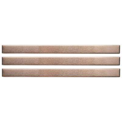 Alloy Stick Copper 3/8 in. x 5-3/4 in. Stainless Steel Over Porcelain Wall Trim Tile (3-Pack)