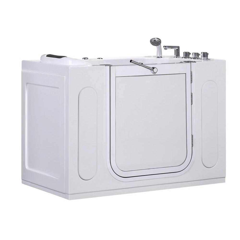 WT622 Right Drain 4 ft. Walk-In Whirlpool Bath Tub in White