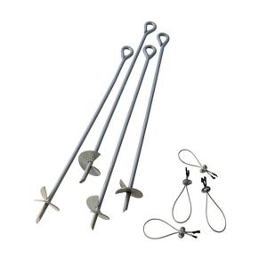 30 in. Earth Anchor Set (4-Piece) w/ Heavy-Duty, Corrosion-Resistant Steel Construction and Spinnable Corkscrew Design