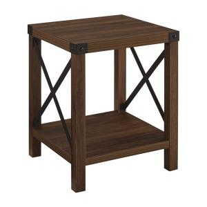 Dark Walnut Rustic Wood Side Table