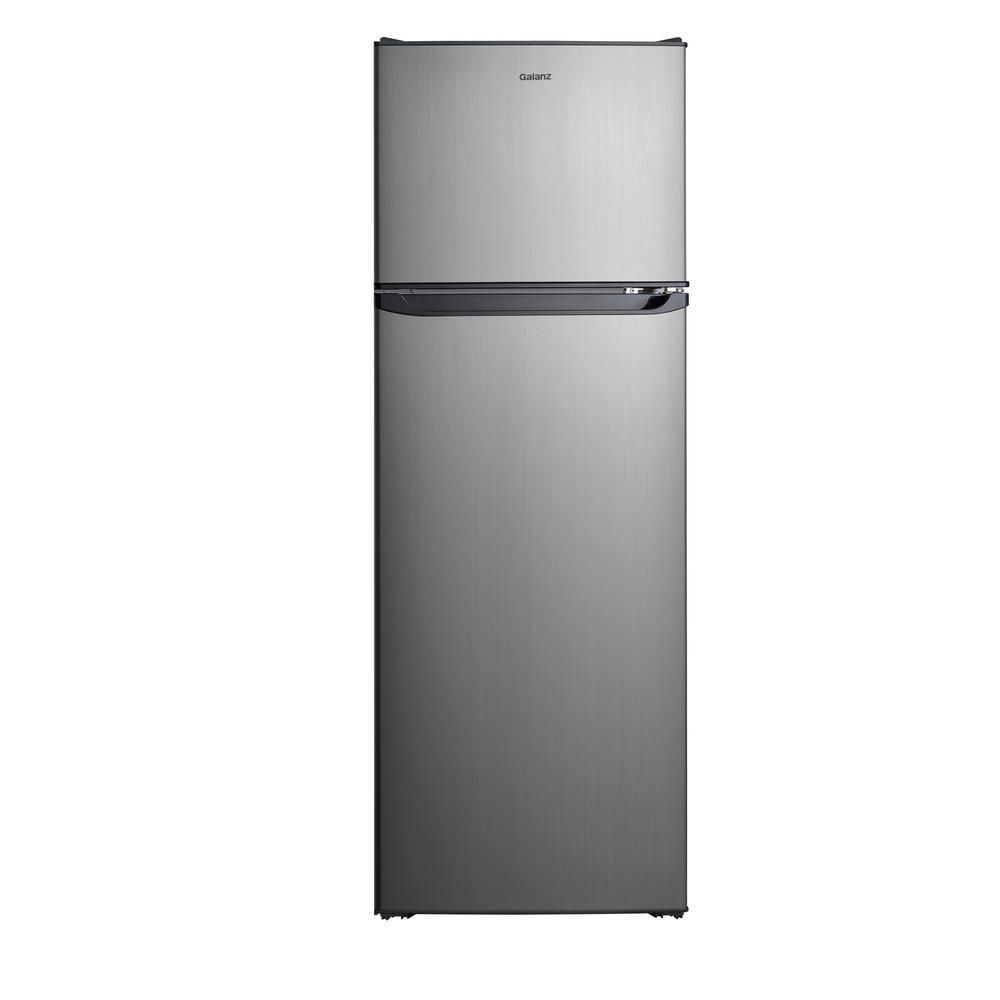 Galanz 12.0 cu. ft. Top Freezer Refrigerator with Dual Door, Frost Free in Stainless Steel Look