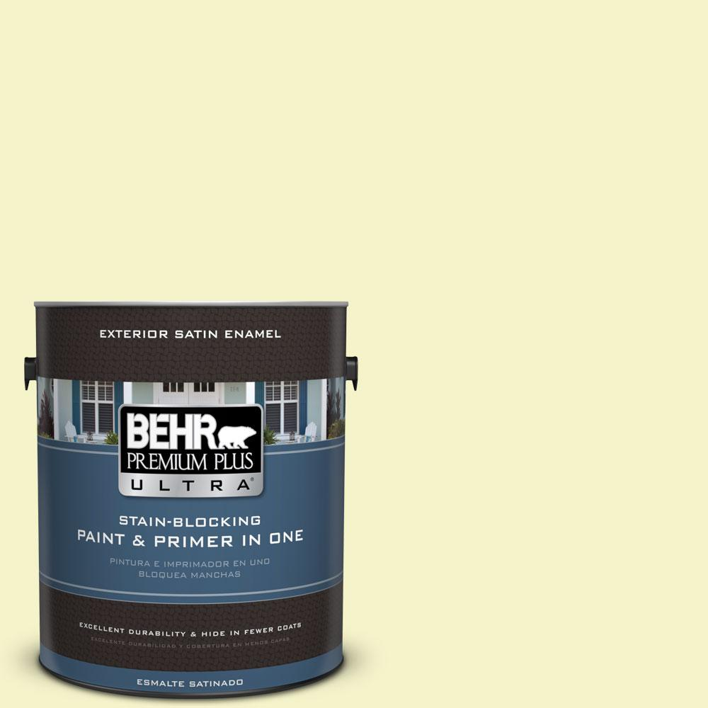 BEHR Premium Plus Ultra 1-gal. #400A-1 Candlelight Yellow Satin Enamel Exterior Paint
