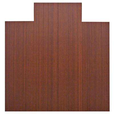 Standard 5 mm Dark Brown Mahogany 55 in. x 57 in. Bamboo Roll-Up Office Chair Mat with Lip